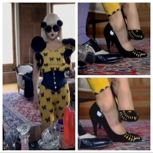 Chanel Black&Yellow Patent Perforated Pumps